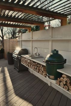 "Exceptional ""outdoor kitchen designs layout patio"" info is offered on our website. Have a look and you wont be sorry you did. Basic Kitchen, Kitchen On A Budget, Kitchen Ideas, Kitchen Inspiration, Parrilla Exterior, Adirondack Furniture, Adirondack Chairs, Outdoor Furniture, Bbq Area"
