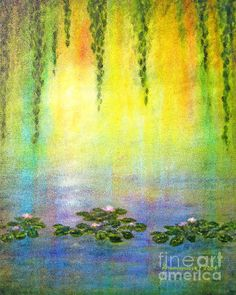 """WATER LILIES AT SUNRISE"" -- Prints of my oil painting are available in many sizes and a variety of surfaces from canvas to phone covers and even pillows!"