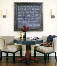 Framed chalkboard for the eat-in kitchen area.