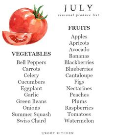 Today, I'm sharing my June Seasonal Produce List! Every month this year, I will be sharing a seasonal produce list so that you all can have a handy dandy printa Healthy Recipes, Healthy Snacks, Healthy Eating, Healthy Sweets, In Season Produce, Fruit In Season, Eat Seasonal, Seasonal Recipe, Food Charts