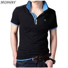 Fieer Mens Turn Down Collar Business Striped Plus Size Polo Shirt