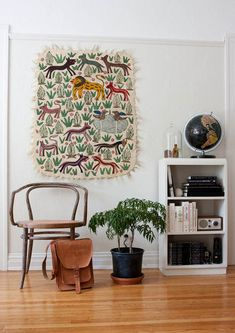 Love that colorful wall hanging.