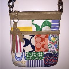 """Coach cross body bag Coach cross body bag. Colorful coach bag with 2 zippered pockets. Adjustable strap. Suede trim. In great condition with just a couple spots. 9""""H x 7.25""""W x .75""""D. Coach Bags Crossbody Bags"""