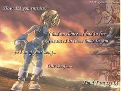 Final Fantasy 9 ending when Zidane comes home and Garnet asks him...