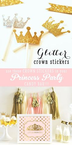 Glitter Gold Crown Shaped Tiara Stickers add just the right sparkle for your Pink and Gold Princess Party! Perfect for a Royal Princess Baby Shower