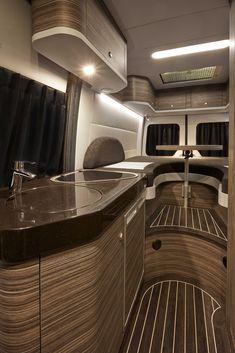 13 Amazing Caravan Interior Design Ideas - New Site Bus Camper, Mercedes Sprinter Camper, Camper Life, Custom Camper Vans, Custom Campers, Van Conversion Interior, Camper Van Conversion Diy, Airstream Interior, Campervan Interior