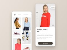 Shop app - discover and add to cart. mobile details buy discover explore clothing ui minimal app shop e-commerce Sporty Look, Show And Tell, Ecommerce, Cart, Sweatshirts, Clothes, Shopping, Minimal, Explore