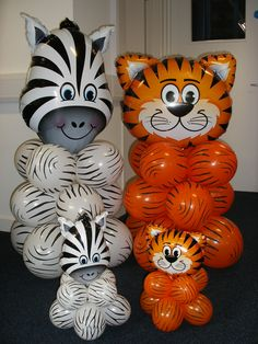 Zany Zebra & foal and Tickled Tiger & cub for a jungle theme birthday party … maybe not build the animals, but draw black stripes on orange balloons Jungle Theme Birthday, Jungle Theme Parties, Safari Birthday Party, Animal Birthday, 1st Birthday Parties, Safari Theme Baby Shower, Safari Theme Party, Birthday Balloons, Birthday Ideas