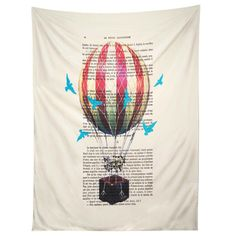 Coco de Paris Airballoon with blue birds Tapestry | DENY Designs Home Accessories