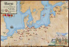 Map of the cities belonging to the Hanseatic League (Europe, c. 13th to 17th centuries).