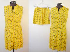 on sale Vintage Yellow JUMPER Dress with Shorts Anchors, Stars and Ships Wheel Zipper Pull by ilovevintagestuff on Etsy