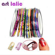 30 Pcs 30 Multicoloridos Cores Misturadas Rolls Striping Prego Linha Tape Art Decoração Etiqueta DIY Pontas Das Unhas alishoppbrasil