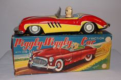 1950's Made in Japan Tin Friction Sports Car with Pig Driver, Piggly Wiggly Car