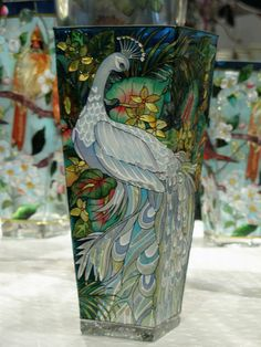 White Peacock Painted Glass Vase