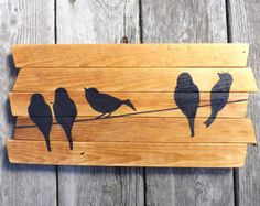 Arte della parete rustica uccelli su un filo 3 di HomeFrosting