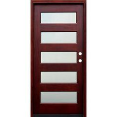 Pacific Entries Contemporary 5 Lite Mistlite Stained Mahogany Wood Entry Door-M55MSML at The Home Depot