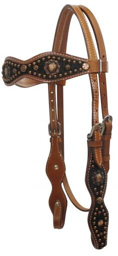 Cowhide /Copper overlay bridle & reins