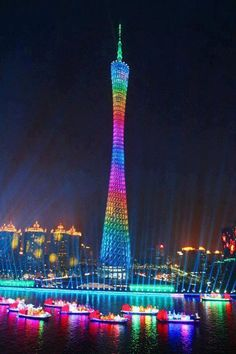Canton Tower, the landmark of Guangzhou city, is located at the south bank of Pearl River. As the highest TV Tower in China Places Around The World, Oh The Places You'll Go, Places To Travel, Around The Worlds, Canton Tower, Beautiful World, Beautiful Places, Beautiful Lights, Wonderful Places