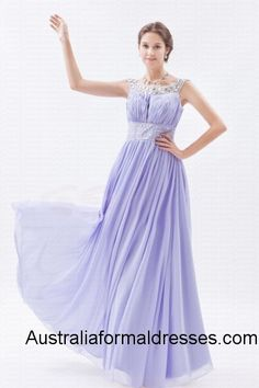 A lavender evening dress is just like a cup of cool cocktail which can bring some fresh air to the hot parties. This lavender A-line evening dress is very elegant and high class. The exquisite jewel neckline which has many shining crystals on it is sparkling like stars in the sky. The light and half transparent chiffon makes you feel like walking in the clouds while wearing this sleeveless and floor-length evening dress.