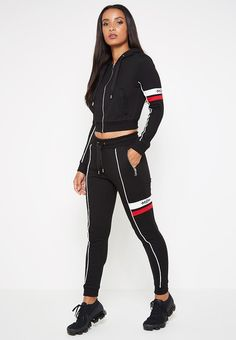 Double Stripe MDV Tracksuit Jacket - Black - Women's style: Patterns of sustainability Sport Outfits, Girl Outfits, Cute Outfits, Fashion Outfits, Sport Mode, Sport Fashion, Womens Fashion, Tracksuit Jacket, Revival Clothing