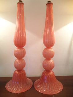 murano glass lamps pair orange & gold with bubbles by studioitaly