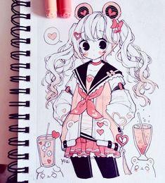 Yoai / Anny / Cicishu Cute Kawaii Drawings, Kawaii Art, Kawaii Anime, Kawaii Girl Drawing, Anime Drawings Sketches, Anime Sketch, Cool Drawings, Cute Art Styles, Cartoon Art Styles