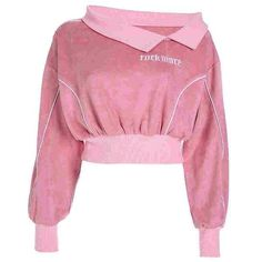 Women One Shoulder Hoodies Cropped Pink Embroidery Letter Hoodie Streetwear Pullover Sweatshirt Crop Top Pink Stage Outfits, Cool Outfits, Fashion Outfits, Womens Fashion, Fresh Outfits, Belly Top, Mode Kawaii, Long Sleeve And Shorts, Crop Top Outfits