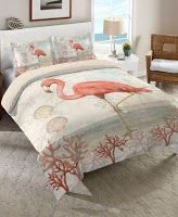 coastal bedrooms Bring whimsy to your space with this flamingo-emblazoned comforter from Laural Home. The front of the comforter displays a fun flamingo among pink coral, bringing a c Beach Bedding Sets, Coastal Bedding, Coastal Bedrooms, Coastal Decor, Coastal Cottage, Coastal Style, Luxury Bedding, King Comforter, Scrappy Quilts
