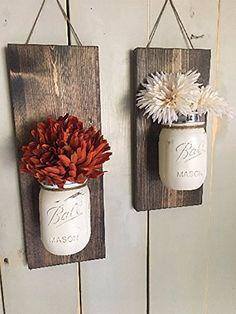Amazon.com: Rustic Wood Wall Sconce, Floral Wall Sconce Set, Mason Jar Wall Sconce: Handmade