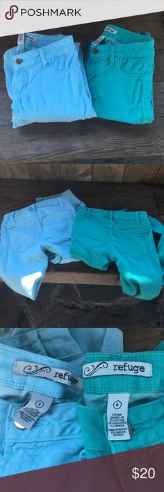 ❤️ Bundle of 2 Refuge Skinny Jeans Bundle of 2 pairs of Refuge, size 0 skinny jeans in light blue and sea green/turquoise! GREAT condition ✨ refuge Jeans Skinny