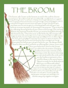 Good information about one our powerful tools the Broom!!