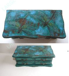 Vintage Jewellery Box / Jewellery Box With Mirror And A Drawer/ Dragonflies…