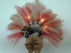 Handmade Lighted Christmas Basket Wreath Made with Tulle and Burlap #Unbranded