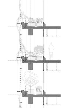 """""""Workers in nearby buildings can be seen pointing out and talking about new flowers and plants and even the seasons – all in the middle of a busy intersection in Tokyo's metropolitan area,"""" Japan office by Kono Designs Architecture Design, Architecture Graphics, Green Architecture, Facade Design, Architecture Drawings, Green Facade, Construction Drawings, Architectural Section, Planks"""