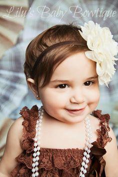 Baby Headband - Large Vintage Cream and Brown Shabby Chic Flower Headband- Newborn, Infant, Toddler Girl Headband and Photo Prop