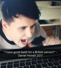 """Lmao when I was little my frind and I always made fun of the make up commercials because all the girls had gap teeth. We'd always shout """"Get the london look"""" in a really bad british accent. Daniel James Howell, Dan Howell, British Youtubers, Dan And Phill, Phil 3, Danisnotonfire And Amazingphil, Sam And Colby, Phil Lester, Good People"""