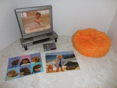 American Girl Doll Tv Dvd Entertainment Set Retired Remote Lights Up Bean Bag