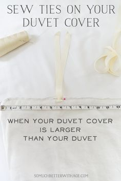 Favorite Sewing Projects Do you have a duvet cover that is larger than the duvet? Sew ties on your duvet cover to keep it from moving around inside the duvet cover. Cheap Bedding Sets, Best Bedding Sets, Bedding Sets Online, Affordable Bedding, Diy Projects To Try, Sewing Projects, Best Duvet Covers, Do It Yourself Home, Handmade Home Decor