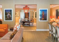 Modern art photography and pops of orange in the Palm Beach home of Ross Meltzer and Victor Figueredo. Photo by Jerry Rabinowitz.