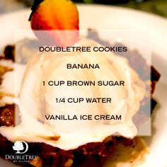 The mouth-watering Chocolate Chip Banana Foster at DoubleTree by Hilton Hotel Ras Al Khaimah is a must try when staying in the UAE. Doubletree Cookies, Banana Foster, Salted Butter, Vanilla Ice Cream, Dessert Recipes, Desserts, Shortbread, Quick Easy Meals, Uae