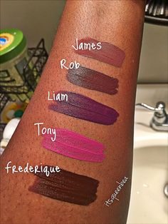 Lena Lashes lipstick swatches on dark skin. Frederique, James, Tony, Rob, Liam. Lena Lashes Liquid Lipsticks Swatches more matte