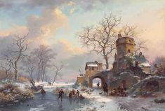 フレデリック・マリヌス・クリュスマン (Fredrik Marinus Kruseman)「Winter Landscape with Figures on the Ice (1875)」
