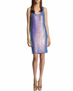 Blue Violet Silk Georgette Sequin Sleeveless Dress by Gucci at Neiman Marcus.