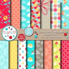 Spring Fling Pattern Pack - spring themed papers are great for scrapbooking, card making, paper crafts, invitations and more!
