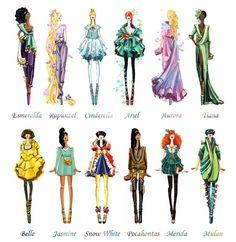 Princesas mais que modernas!    #DisneyPrincesses  Além das vilãs, as princesas também passaram pela arte de Sashii-Kami, todas em visuais completamente diferentes do que estamos acostumadas a ver nos filmes da Disney. Enquanto a Bella parece saída de uma passarela da Lanvin, a Mulan podia muito bem estar vestindo Givenchy, enquanto a Cinderella, que típico, nos lembrou os vestidos da Marchesa.