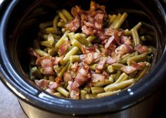 The Best Green Beans: 5 cans of cut green beans, 1/2 pound of cooked bacon cut into pieces, 1/4 cup of butter, 2/3 cup of brown sugar, 7 teaspoons of soy sauce, 1 1/2 teaspoons of garlic powder