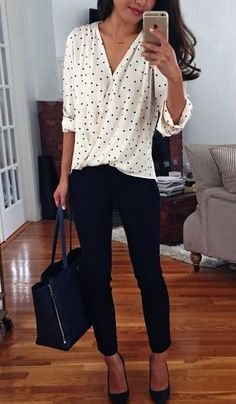 business casual office outfit idea: wrap polka dot blouse + navy ankle pants for work . I like this outfit but usually shy away from polka dots because it can be too sweet and I need to get away from the little girl look Casual Office Attire, Casual Work Outfits, Mode Outfits, Work Casual, Easy Outfits, Casual Fall, Stylish Office, Casual Chic, Business Casual Dresses