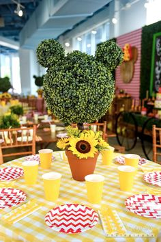 Minnie Mouse topiary from a Minnie Mouse Sunflower Garden Party on Kara's Party Ideas | KarasPartyIdeas.com (43)