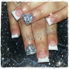 White French rhinestones gel nails
