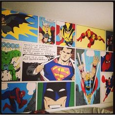 Mom painted her son's wall with super-heroes - AWESOME MOM!!